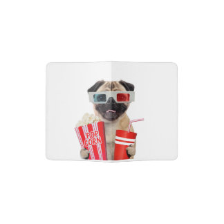 Pug watching a movie passport holder