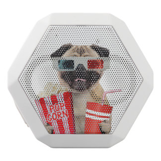 Pug watching a movie white bluetooth speaker
