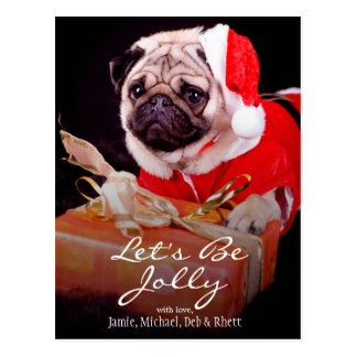 Pug wearing a Santa hat Postcard