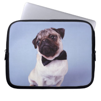 Pug wearing bow tie, close-up laptop sleeve