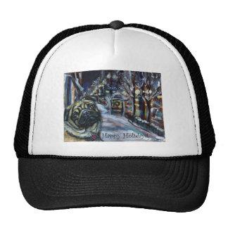 Pug winter scene hat