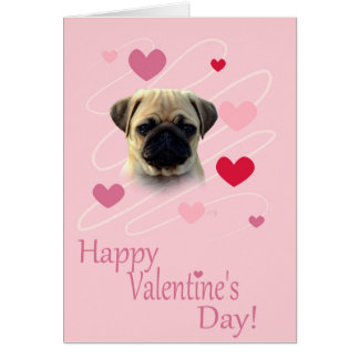 Pug Wishing Happy Valentine's day greeting Greeting Card