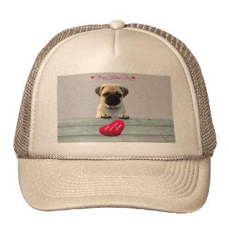Pug Wishing Happy Valentine's day Heart hats
