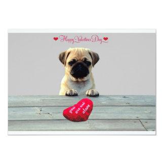 Pug Wishing Happy Valentine's day invitation card