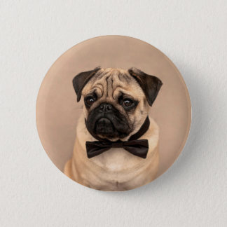 Pug with Bow Tie 6 Cm Round Badge