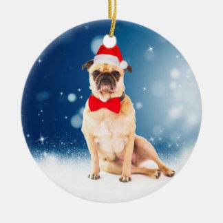 Pug with Christmas Santa Hat Christmas Ornament