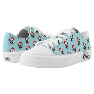 Pug with Christmas Santa Hat Pattern Low Tops