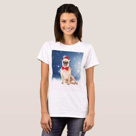 Pug with Christmas Santa Hat T-Shirt