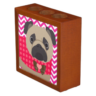 Pug With Dots on Hot Pink and White Chevron Stripe Desk Organiser
