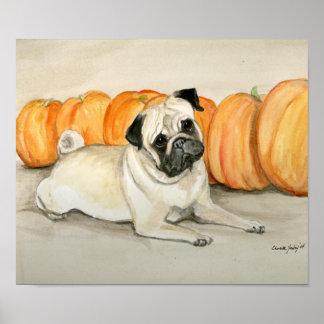 """""""Pug with Pumpkins"""" Dog Art Print"""