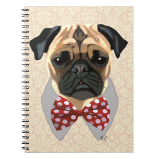 Pug with Red and White Spotty Bow Tie Notebooks