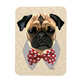 Pug with Red and White Spotty Bow Tie Rectangular Photo Magnet