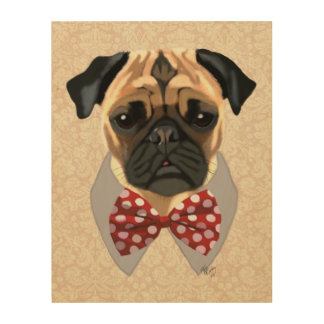 Pug with Red and White Spotty Bow Tie Wood Wall Art