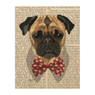 Pug with Red and White Spotty Bow Tie Wood Wall Decor