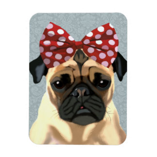 Pug with Red Spotty Bow On Head 2 Rectangular Photo Magnet