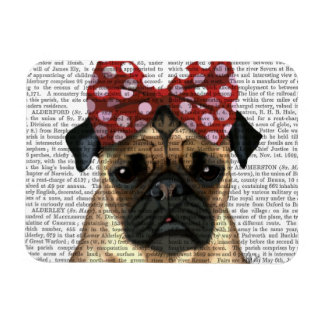 Pug with Red Spotty Bow On Head Magnet