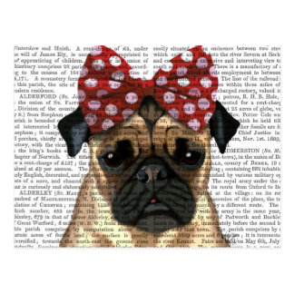 Pug with Red Spotty Bow On Head Postcard