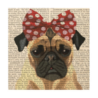 Pug with Red Spotty Bow On Head Wood Wall Art
