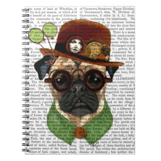 Pug with Steampunk Bowler Hat Spiral Note Books
