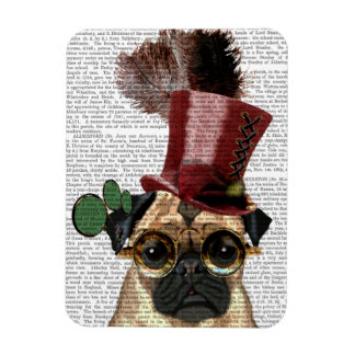 Pug with Steampunk Style Top Hat Magnet
