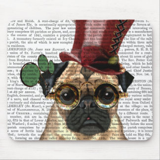 Pug with Steampunk Style Top Hat Mouse Pad