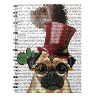 Pug with Steampunk Style Top Hat Note Books