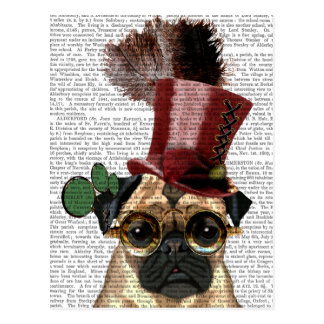 Pug with Steampunk Style Top Hat Postcard