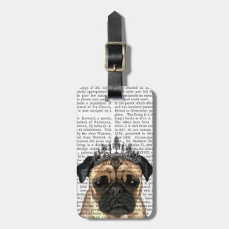 Pug With Tiara Luggage Tag