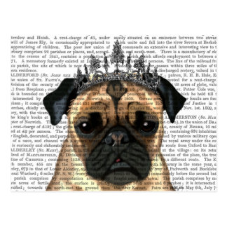 Pug With Tiara Postcard
