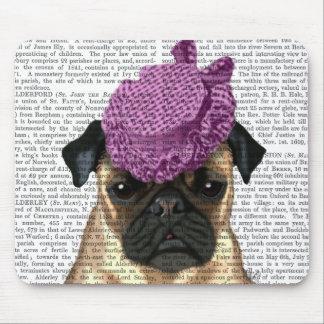 Pug with Vintage Purple Hat Mouse Pad