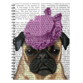 Pug with Vintage Purple Hat Notebook