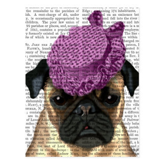 Pug with Vintage Purple Hat Postcard