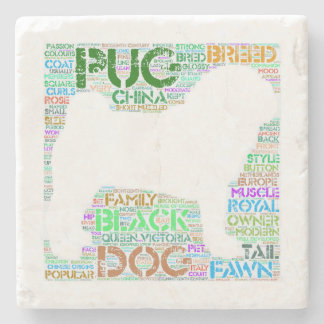 "Pug ""Word Cloud"" Marble Stone Coaster"