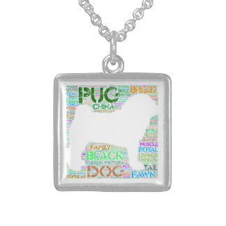 "Pug ""Word Cloud"" Sterling Silver Square Necklace"