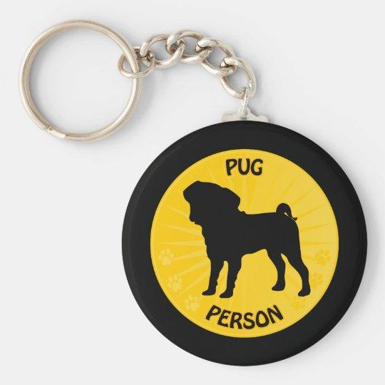 Pug Xing Basic Round Button Key Ring