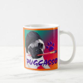 PUGCASSO CLASSIC WHITE COFFEE MUG