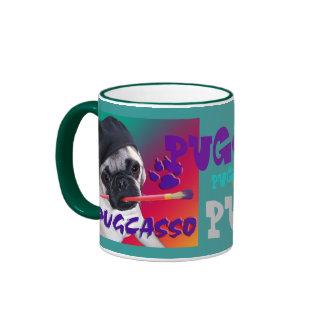 PUGCASSO RINGER COFFEE MUG