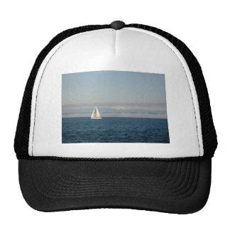 Puget Sound Sailboat and Mountain Range Mesh Hat