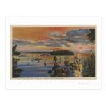 Puget Sound, WA - Yacht Club Moorings at Sunset Postcard