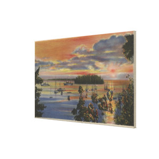 Puget Sound, WA - Yacht Club Moorings at Sunset Stretched Canvas Prints