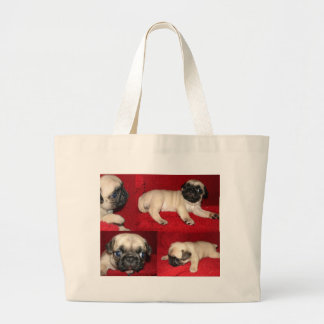 Puggies on the go! large tote bag