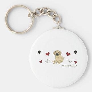 Puggle Basic Round Button Key Ring