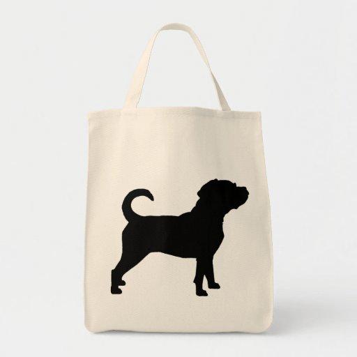 Puggle Dog Silhouette Tote Bags