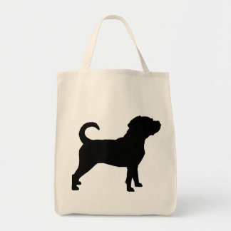 Puggle Dog Silhouette Grocery Tote Bag
