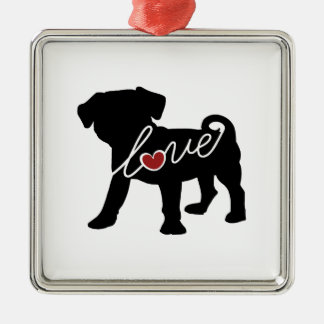 Puggle (Pug / Beagle) Love Christmas Ornament