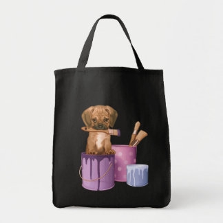Puggle puppy in painting pot grocery tote bag