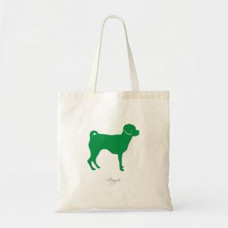 Puggle Tote Bag (green silhouette)
