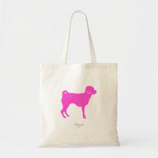 Puggle Tote Bag (pink silhouette)