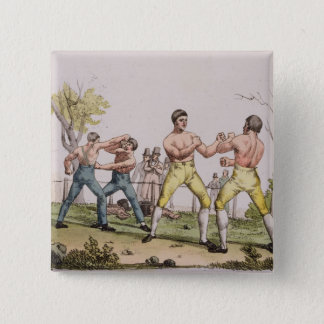 Pugilists, plate 31 from 'The History of the Natio 15 Cm Square Badge