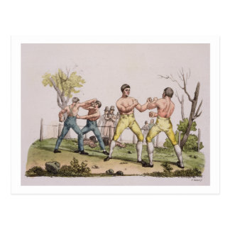 Pugilists, plate 31 from 'The History of the Natio Postcard